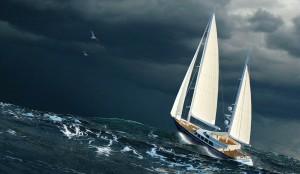 лодка в открытом море